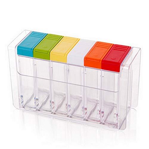 Gewürzbox aus transparentem Kunststoff 6-teilig Set Gewürzflasche Salz MSG Gewürzdose Gewürzdose Gewürzdose
