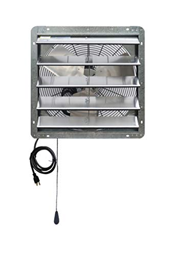 iLIVING ILG8SF20V-T 20 inch Shutter Exhaust Attic Garage Grow, Ventilation Fan with 2 Speed Thermostat 6 Foot Long 3 Plugs Cord, 20' - Variable, Silver
