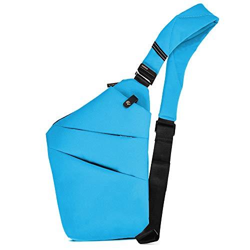 BROADREAM Sling Bag, Brusttasche Herren,Anti-Diebstahl Schultertasche für Herren Und Damen (Blau), S