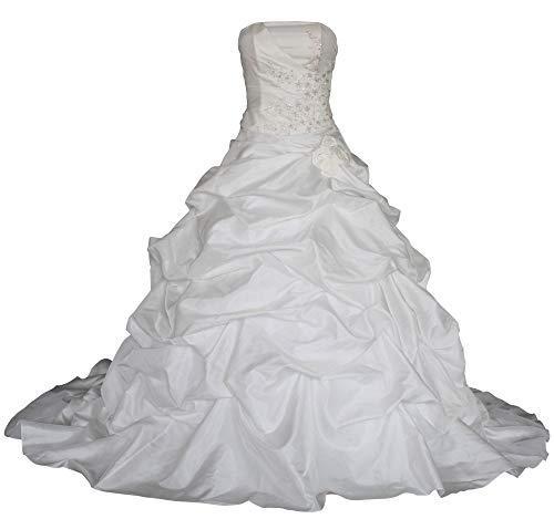 Romantic-Fashion Brautkleid Hochzeitskleid Weiß Modell W055 A-Linie TAFT Perlen Pailletten Blüten DE Größe 36