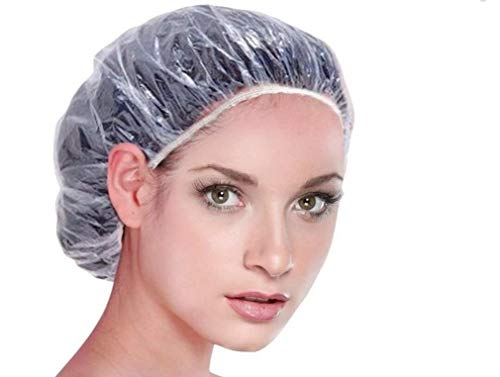 Sowaka 15 Pcs Shower Caps Disposable Clear Waterproof Plastic Elastic Thick Hair Bathing Caps for Women Kids Girls Travel Spa Hotel Hair Solon Home Use Cleaning