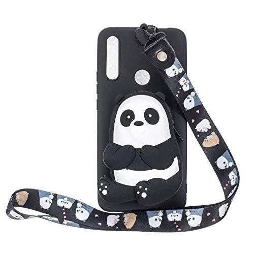 Miagon Silikon Hülle für Huawei P Smart Z,3D Süß Brieftasche Lager Tasche Design mit Halskette Kordel Schnur Handykette Necklace Band,Schwarz Bär