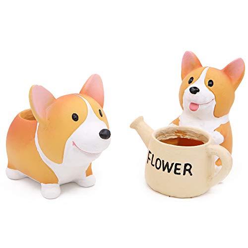 Juego de 2 macetas con forma de perro Corgi para decoración de jardín