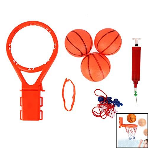 Wwrb Fun Basketballkorb & Ball Set, Badespielzeug Und 3 Bälle + Inflator Für Kleinkinder Kinder Mit Saugern Jungen-Mädchen-Badewanne Pool-Schießen-Spiel (Orange),Inflatable