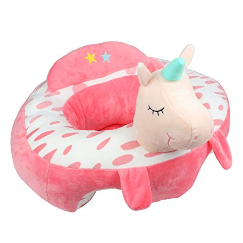 Alpacasso Infant Safe Sitting Chair, Comfortable Infant Soft Plush Floor Support Seat, Baby Learning to Sit Head Protect Chair with Stuffed Animal Toys. (Unicorn)