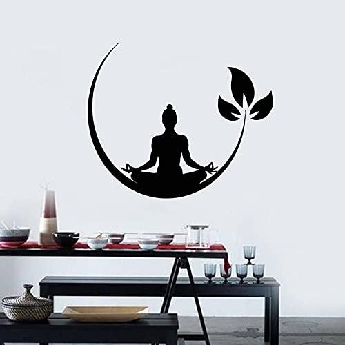 WERWN Vinilo decorativo para pared, diseño de postura de meditación, budista, yoga, estudio, gimnasio, decoración de interiores, vinilo para pared, diseño de hojas