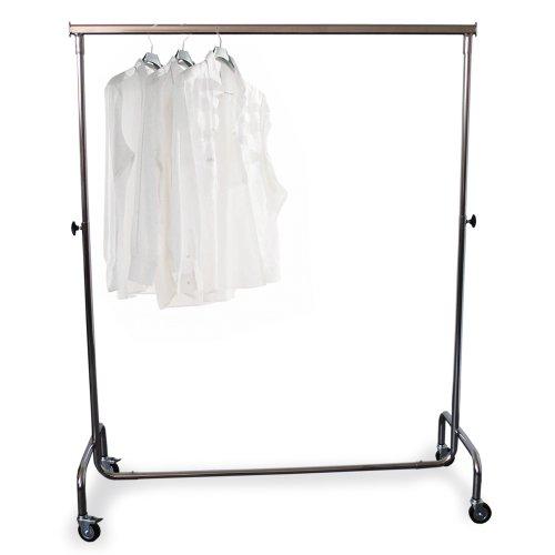Mobiler Industriekleiderständer 140-195cm Breite höhenverstellbar mit Rollen werkzeuglose Montage verchromt