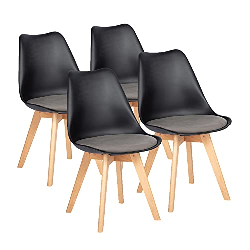EGGREE Set di 4 Sedie Sala da Pranzo/Ufficio, Sedia Imbottita in Velluto Moderne, Sedie Cucina con...