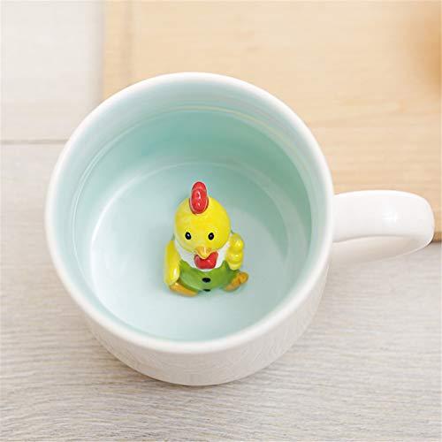 3D-Kaffeetasse mit Huhn, 340 ml, niedliches Cartoon-Design, handgefertigt, Keramik, Weihnachten, Geburtstag, Überraschung für Freunde, Familie oder Kinder, beste Bürotassen für Morgen (340 ml Huhn)