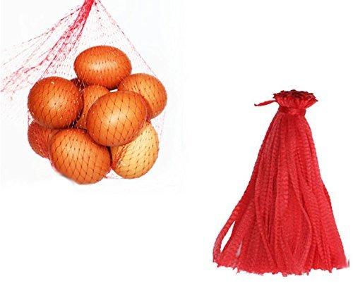 500 piezas Bolsa de productos de malla, bolsa de red reutilizable, juguetes de nailon, frutas y verduras, bolsas de polietileno para almacenamiento con cordón (30CM)