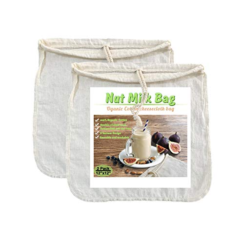 Organic Cotton Nut Milk Bags - 12' x 12' U bottom cheesecloth bags for nuts milk, Cold brew coffee, all kinds of juice, teas .etc 2 PACK