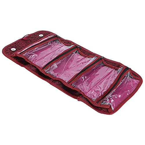 25 x 13 cm / 9,8 x 5,1 in, organizador de maquillaje portátil, material de poliéster, accesorios de maquillaje, estuche de viaje, color rojo