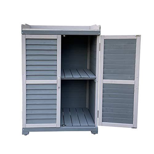 Wiltec Gartentisch mit Unterschrank und Arbeitsplatte, Pflanztisch mit Schutzleisten, grau 67x46,5x99,7cm