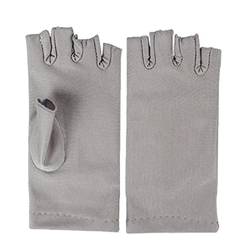 Berrywho Nail Dryer Anti Uv Protection Gloves Led Lamp Radiation Uv Shield Fingerless Gloves Nail Art Dryer Tools for Salon Home 1 Pair Grey