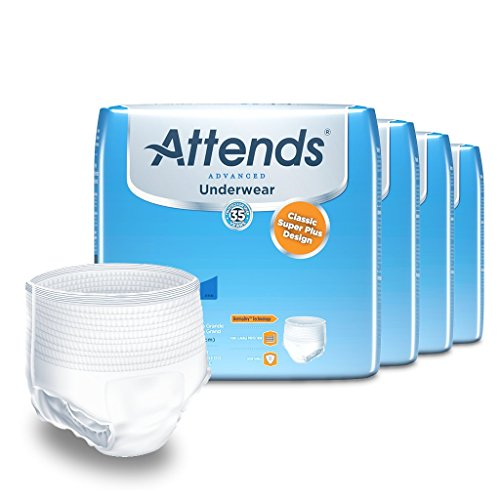 Attends Advanced Protective Underwear with Advanced DermaDry Technology for Adult Incontinence Care, X-Large, Unisex, 14 Count (Pack of 4) (Packaging May Vary)
