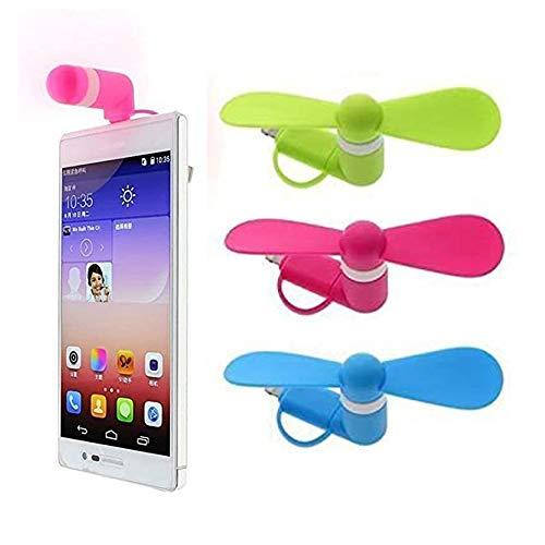 3 Pack Portable Phone Fan, Phone Fan, Phone Ventilador, Ventilador de Teléfono Portátil para Iphone, Ventilador Giratorio Plegable Portátil para Iphone Android (Rosa, Azul, Verde)