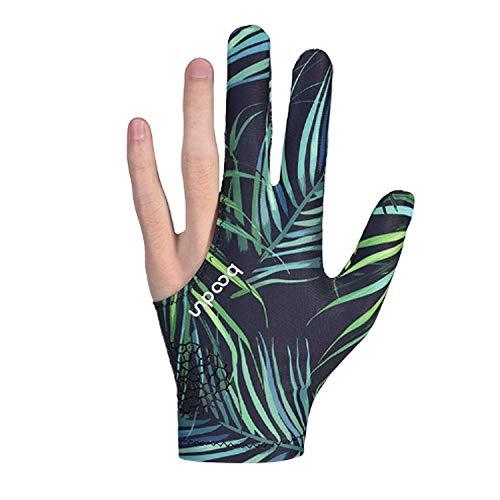 Clyhon 1Pcs Billardhandschuhe, Drei-Finger-Snooker-Queue-Handschuh für Herren Billard-Schießhandschuh (Blattfarbe)