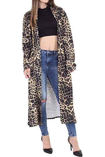Rimi Hanger Womens Long Sleeve Printed Maxi Cardigan Ladies Open Front Crepe Duster Coat Brown Leopard XXX Large