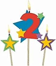 Amscan Party Time Stars and Number 2 Celebration Candle on a Stick, Pack of 3, Multi, 7