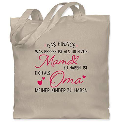 Shirtracer Oma Geschenk - Das einzige, was besser ist als dich zur Mama zu haben - schwarz - Unisize - Naturweiß - WM101 - WM101 - Stoffbeutel aus Baumwolle Jutebeutel lange Henkel