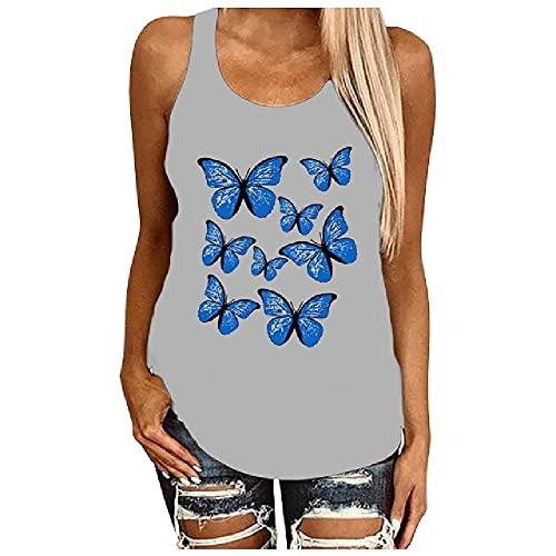 Camiseta sin mangas con estampado de mariposas, para verano, sin mangas, para mujer, talla grande, informal, cuello o chaleco