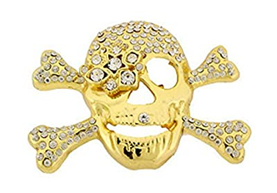 Skull Cross Bones Gold Rhinestones Pirate Punk Hip Bling Belt Buckle for Men Women.