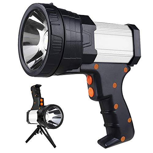 Rechargeable Spotlight Flashlight Searchlight Handheld Spotlight 6000 Lumen 10000mAh cordless spotlight Super Bright Flood Flashlight with Power Bank Function & Foldable Tripod