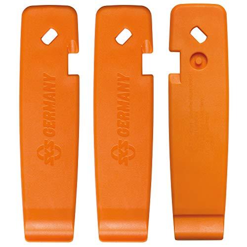 SKS GERMANY Reifenheber LEVERMEN 3er-Set Fahrrad-Zubehör (stabiler Hochleistungskunststoff, inkl. SV-Schlüssel und AV-Entlüfter, Einkerbung zur Fixierung an der Speiche, Made in Germany), Orange