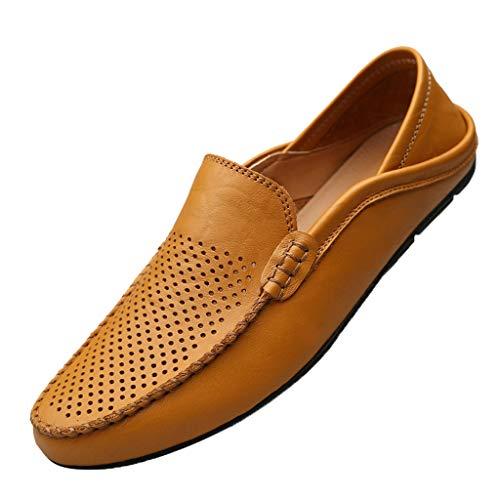 YWLINK Mocasines Hombre Hueco Transpirable Zapatos De ConduccióN Elegantes Y Ocasionales CláSicos Zapatillas TamañO Grande CóModo Fiesta Festival Corriendo Regalo del DíA De Miembro(marrón,42EU)