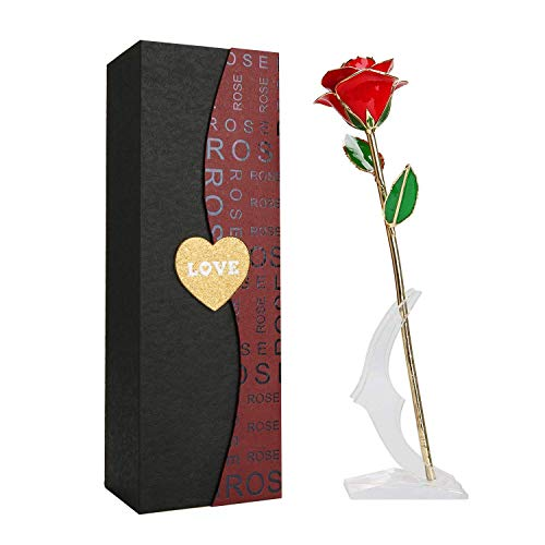 YEPLINS 24K Gold Rose mit Geschenkbox für Frau Freundin Valentinstag Muttertag Geburtstag Hochzeitstag Weihnachten Jahrestag