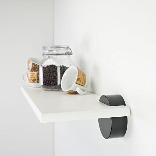 Duraline boekenkast, wandplank incl. dragers cirkel | 60 x 20 cm wit wit/zwart