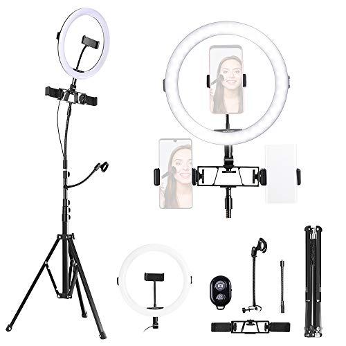 K&F Concept Ring Light, Luce ad Anello LED 5500K, Luce Anello Dimmerabile con Treppiedi 200cm e clip per Microfono e Telefono, Smartphone, Youtube,Tik Tok, Vine, Autoritratto