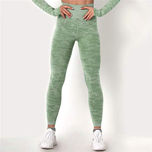 GUOYANGPAI Los Pantalones de la Aptitud de la Mujer de la Cintura Alta, Polainas inconsútiles, empujan hacia Arriba Las Polainas del Deporte del Gimnasio,Verde,L