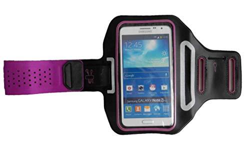 Sport-Armband Oberarm Tasche passend für Samsung Galaxy S20 / S10 / S9 / S8/ S7 Edge Handy Halterung Fitness-Hülle, Tasche mit großem Fach Jogging, Dealbude24 Trendy Groß Pink