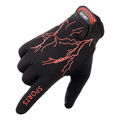Jinjin Gloves Non-Slip Riding Hand Mountaineering Fitness Gloves Non-Slip Sweat-Absorbent Breathable Quick-Drying Absorption Outdoor Sports Gloves Anti-Shock Wear-Resistant Gloves (Red)