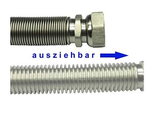 Edelstahlwellrohr ausziehbar DN20 Highflex Edelstahlschlauch 1.4404 formstabil 75-130mm bis 1.000-2.000mm 3/4' ÜM x 3/4' AG - sehr kleiner Biegeradius, Schlauchlänge variabel:von 500 bis 1.000 mm