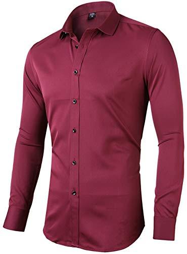 INFlATION Herren Hemd aus Bambusfaser umweltfreudlich Elastisch Slim Fit für Freizeit Business Hochzeit Reine Farbe Hemd Langarm,DE L (Etikette 42),Weinrot