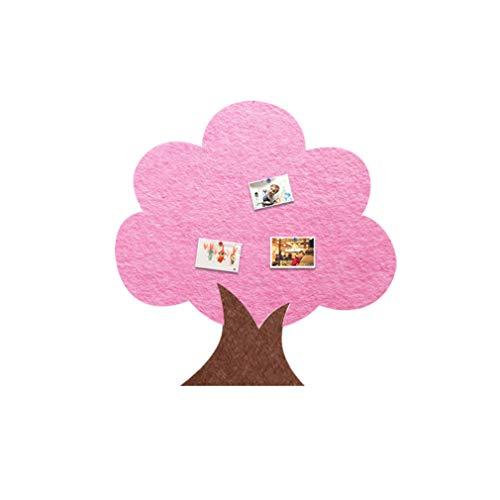 DKZ Adhesivo de pared para tablero de fieltro, diseño de árbol grande, tablero de anuncios de corcho tridimensional, adhesivo creativo nórdico autoadhesivo para azulejos de jardín de infantes (rosa)