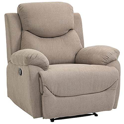 HOMCOM Relaxsessel Einzelsofa Liege 150° neigbar Fernsehsessel Leinen Beige 97 x 96 x 105,5 cm