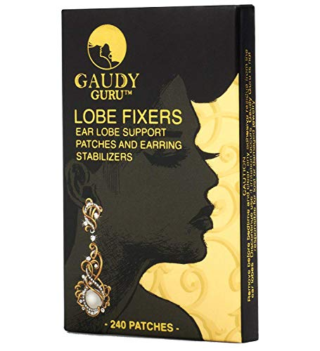 Ear Lobe Support Patches and Earring Stabilizers (240 Invisible Patches) #1 Voted in Hollywood. Lobe Fixers by Gaudy Guru (Invisible)