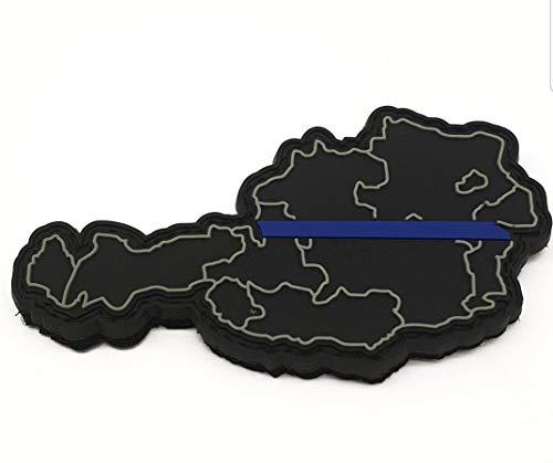 Polizeimemesshop Thin Blue Line Österreich Rubber Patch PVC