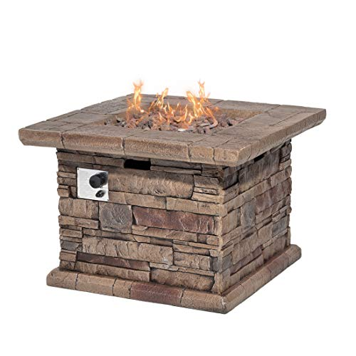 HOMPUS Propane Patio Fire Pit Table, Lava Rocks and Rain Cover for Outdoor Leisure Party, 50,000 BTU 32-inch Square Concrete Fire Table