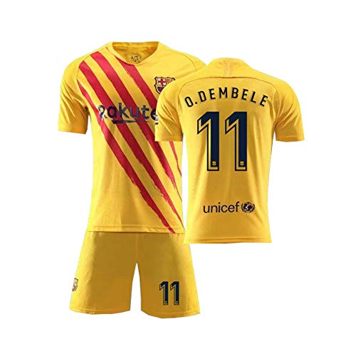 PAOFU Fútbol Club Barcelona # 11 Ousmane Dembélé Fan Fußball Jersey Erwachsene Und Kinder Fußball-Trikots,Gelb,L
