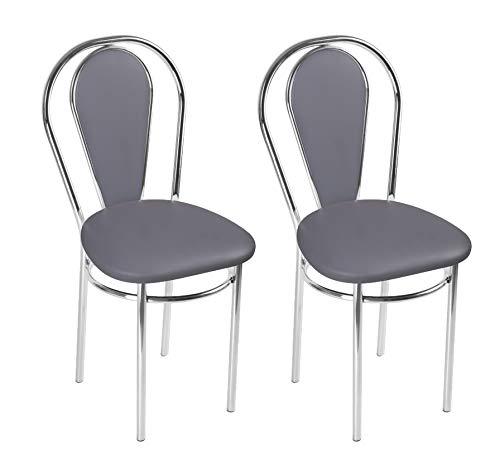 BSD Sedia da Pranzo Moderna in Ecopelle, Sedia da Sala da Pranzo, Set di 2 Sedie da Pranzo con Gambe in Metallo - Tulipan Plus Trapezio - Colore: Grigio-c - Set di 2