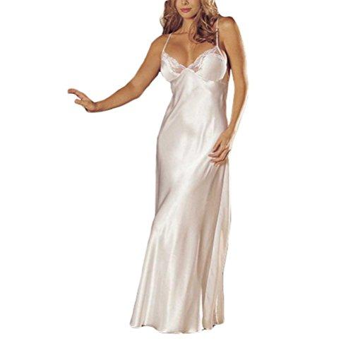DOGZI Lencería Mujer Tallas Grandes V-Cuello Mujer Sexy Lencería Cordón Picardias Ropa Interior Durmiente Satín Cordón Vestido Largo (3XL, Blanco)