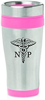 16oz Insulated Stainless Steel Travel Mug NP Nurse Practitioner Caduceus (Hot Pink)