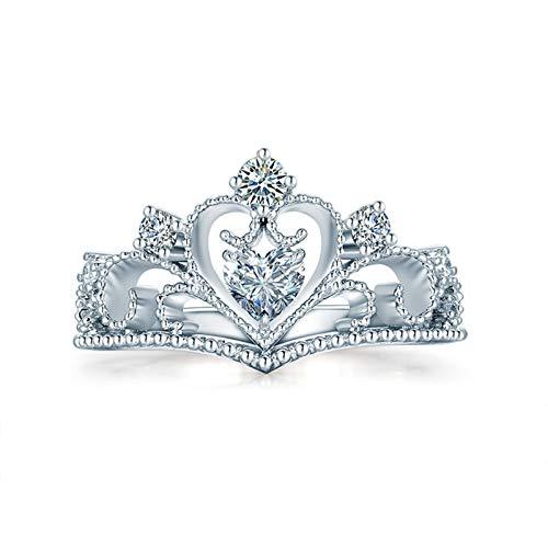 Daesar Anillo Mujer Oro Blanco 18K,Anillos de Plata Para Mujer Corona Hueca 0.2ct Diamante 0.06ct Anillo Talla 17