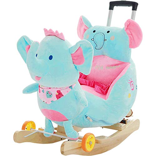 Rocking horse LINGZHIGAN Elephant Children's Wooden Horse Music Rocking Chair Baby Toy With Push Rod, Can Be Pulled And Pushed