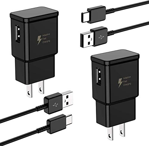 Adaptive Fast Wall Charger Adapter with USB Type C Cable Compatible with Samsung Galaxy S10 S10e / S9 / S9+ / S8 / S8 Plus/Active/Note 9 / Note 8 and More (2 Charger + 2 Cable)