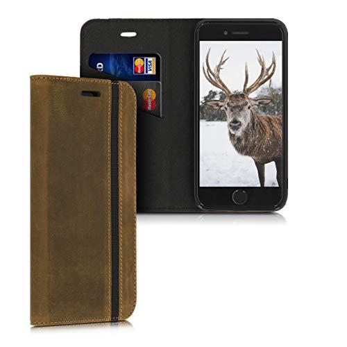 kalibri Cover compatibile con Apple iPhone 7/8 / SE (2020) - Custodia a portafoglio per cellulare in vera pelle con porta carte e funzione Stand - Wallet Case